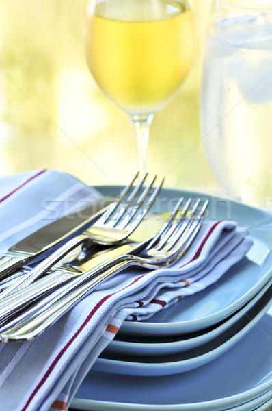 プレート カトラリー 表 スタック 食品 ドリンク ストックフォト © elenaphoto