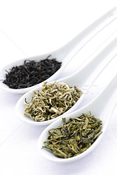 ストックフォト: 茶 · 葉 · 側位 · 黒白