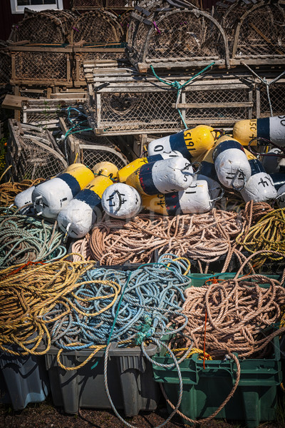 Stock photo: Lobster traps, floats and rope