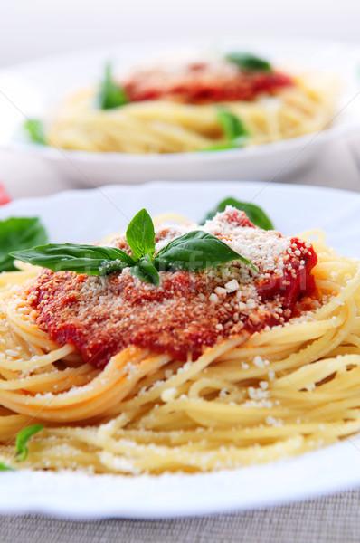Pasta salsa di pomodoro basilico cena mangiare pomodoro Foto d'archivio © elenaphoto