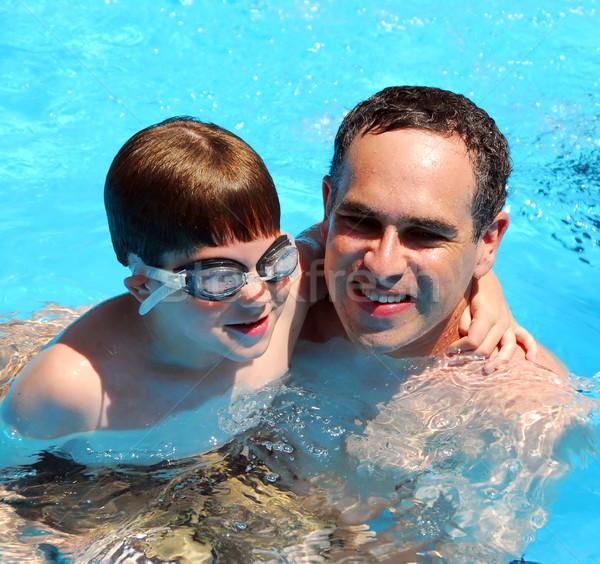 Foto stock: Hijo · de · padre · piscina · piscina · agua · familia