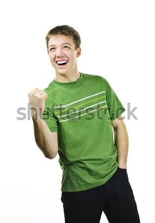 торжествующий молодым человеком возбужденный энергичный успех Сток-фото © elenaphoto
