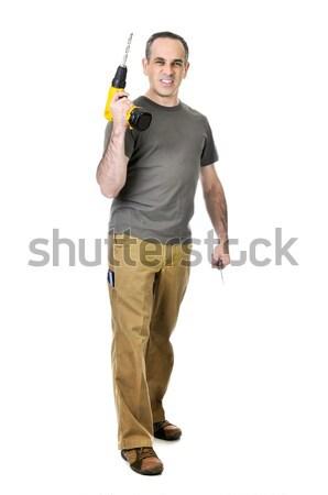 Handyman with a drill Stock photo © elenaphoto