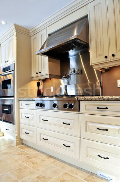 Foto stock: Interior · da · cozinha · interior · moderno · luxo · cozinha · aço · inoxidável