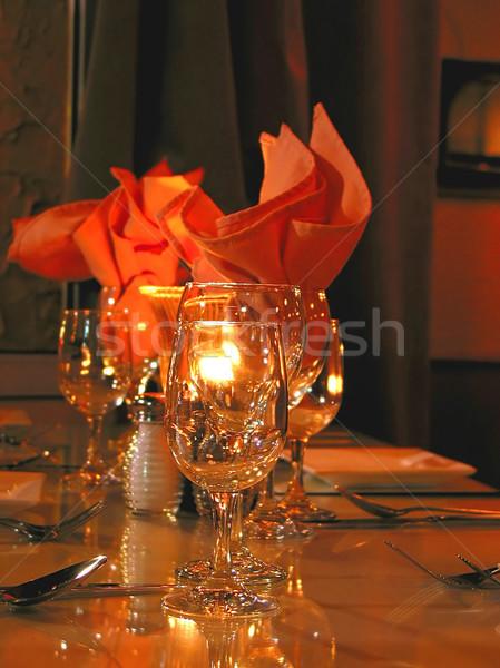 Yemek masası gıda şarap restoran gece akşam yemeği Stok fotoğraf © elenaphoto