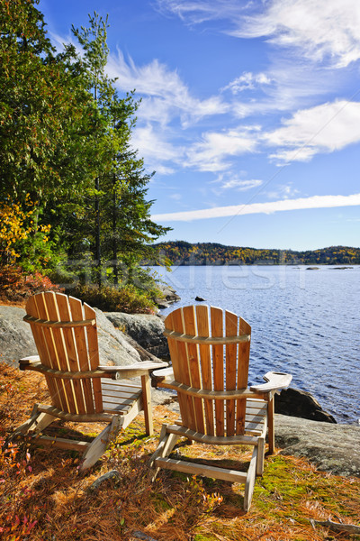Adirondack chairs at lake shore Stock photo © elenaphoto