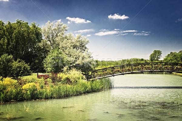 Pond with foot bridge Stock photo © elenaphoto