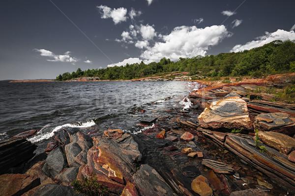Rocky shore of Georgian Bay Stock photo © elenaphoto