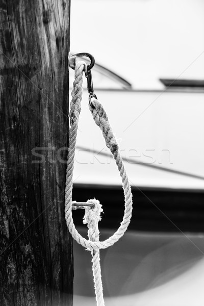 Rope fence fragment in harbour Stock photo © elenaphoto