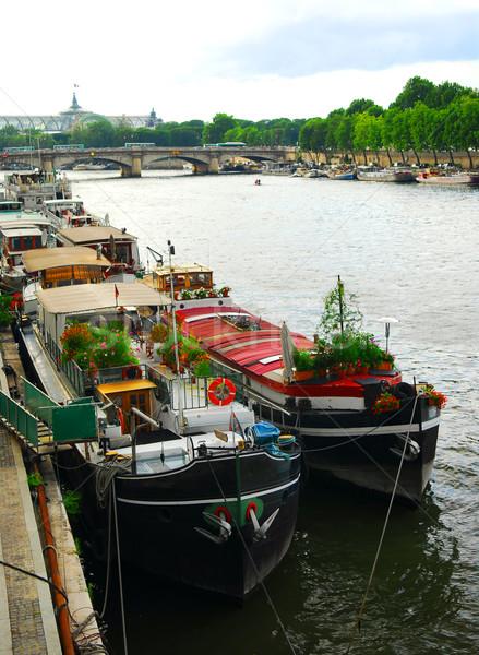 Houseboats in Paris Stock photo © elenaphoto