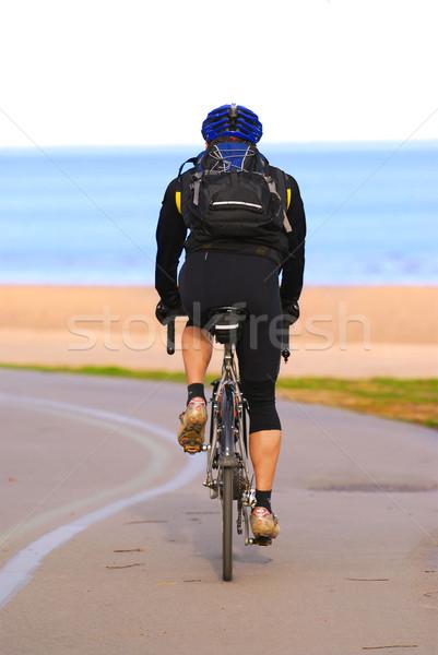 Equitação bicicleta pessoa trilha praia Foto stock © elenaphoto
