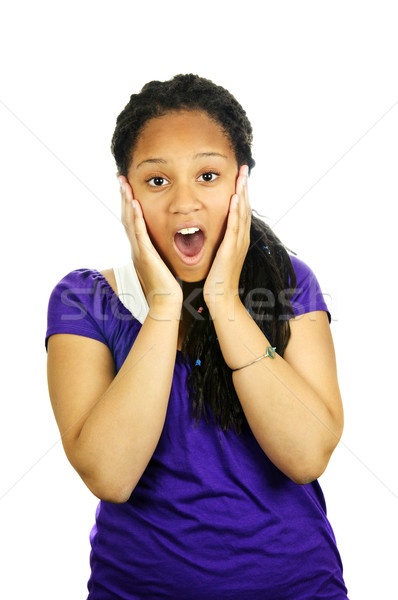 Teenage girl surprised Stock photo © elenaphoto