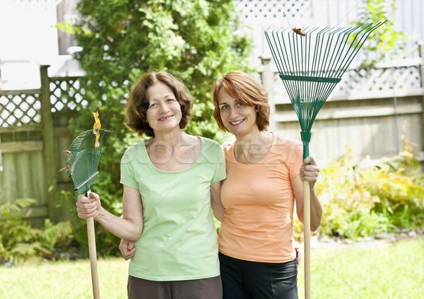 Women with rakes in garden Stock photo © elenaphoto