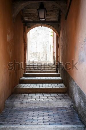 Passaggio passi strade vecchio medievale Foto d'archivio © elenaphoto