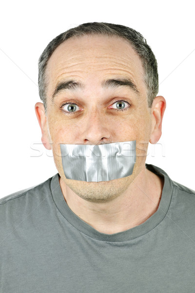 Férfi ragasztószalag száj portré arc segítség Stock fotó © elenaphoto