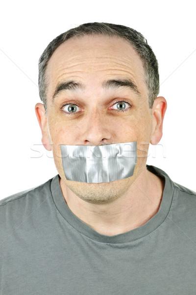 Man mond portret gezicht helpen Stockfoto © elenaphoto