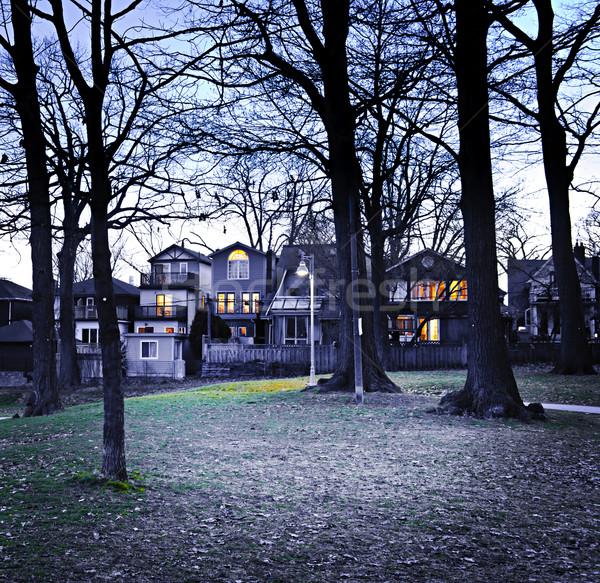 Park akşam karanlığı şehir yerleşim evler ev Stok fotoğraf © elenaphoto