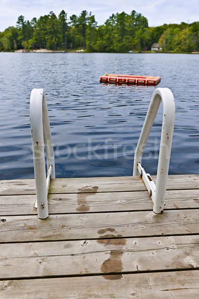 ślady dok lata jezioro mokro drabiny Zdjęcia stock © elenaphoto