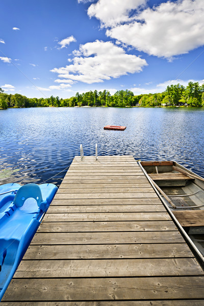 Dock on lake in summer cottage country Stock photo © elenaphoto