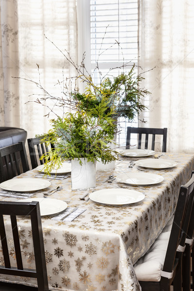 Decorated Christmas dining table Stock photo © elenaphoto