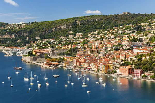 Frans kust luchtfoto schilderachtig stad Stockfoto © elenaphoto