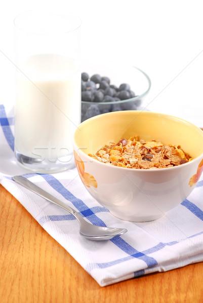 Сток-фото: здорового · завтрак · зерновых · молоко · черника · продовольствие