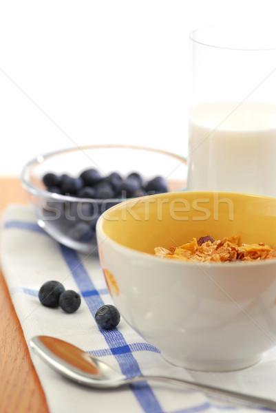 Foto stock: Saudável · café · da · manhã · cereal · leite · mirtilos · comida