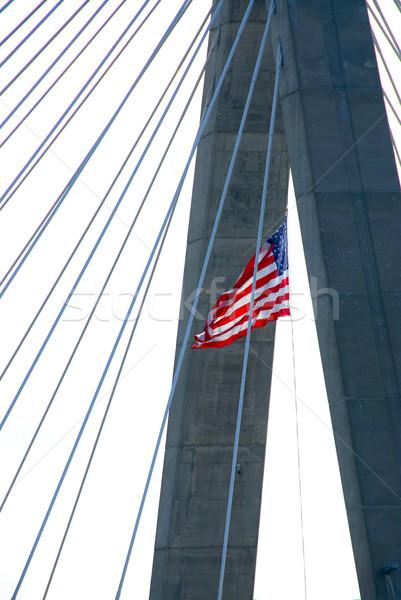 Stock fotó: Híd · Boston · részlet · amerikai · zászló · város · zászló