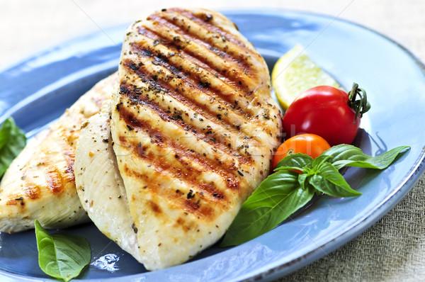 Stockfoto: Gegrilde · kip · borsten · plaat · verse · groenten · gezondheid · kip