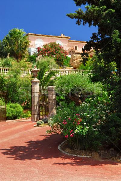 Lussureggiante giardino villa francese fiore fiori Foto d'archivio © elenaphoto