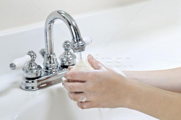 Washing hands Stock photo © elenaphoto