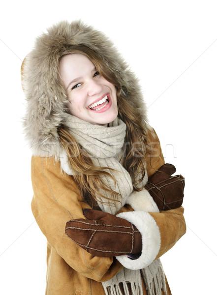 Laughing winter girl in hood Stock photo © elenaphoto
