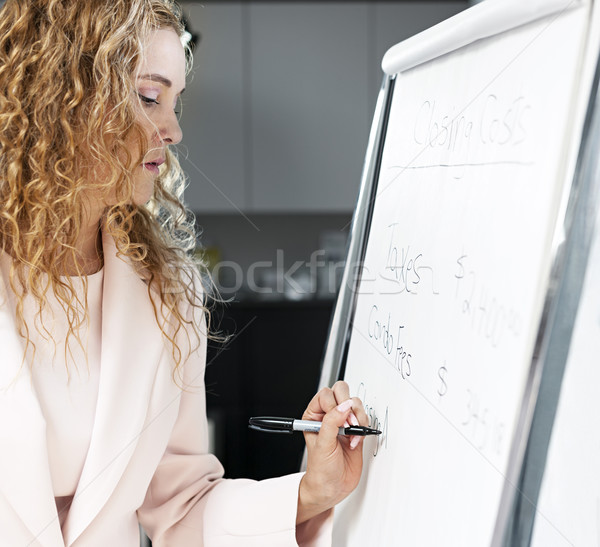 Real estate agent writing on flip chart Stock photo © elenaphoto