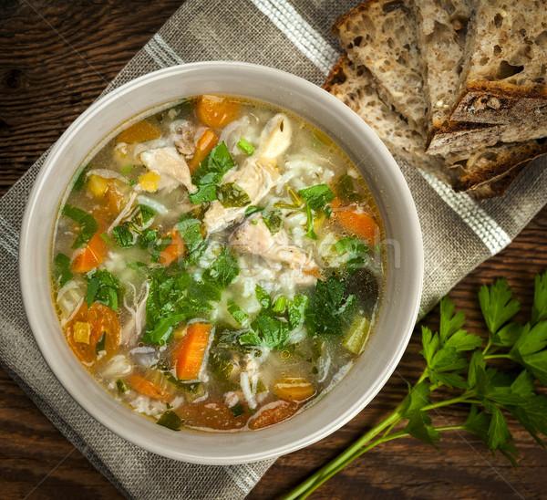 Brodo di pollo riso verdura pollo zuppa ciotola Foto d'archivio © elenaphoto
