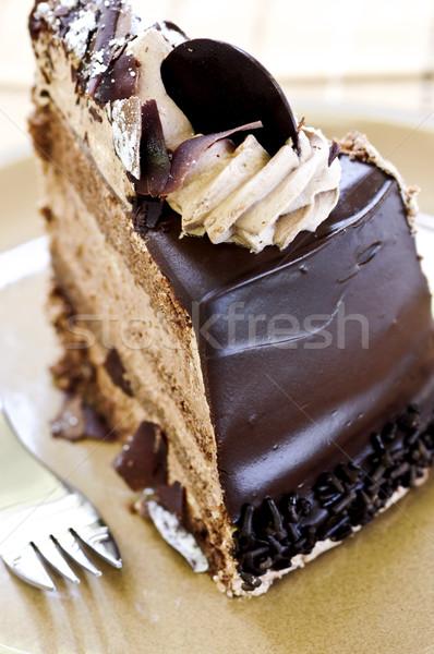 ломтик Шоколадный мусс торт служивший пластина Сток-фото © elenaphoto