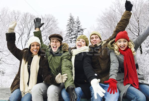 Stock fotó: Csoport · boldog · barátok · kívül · tél · izgatott