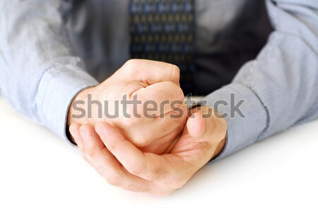 Kezek közelkép fehér készít ököl üzlet Stock fotó © elenaphoto