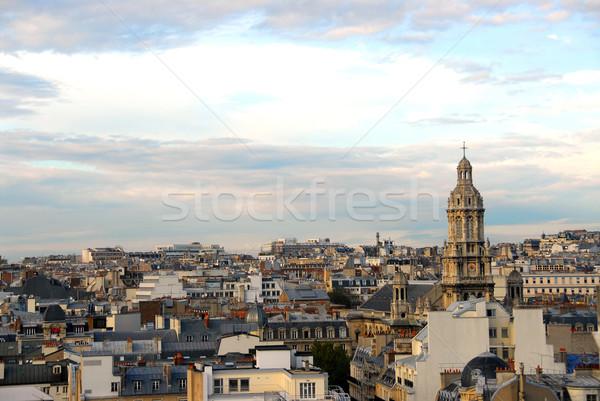 パリ 屋根 風光明媚な 表示 フランス 建物 ストックフォト © elenaphoto