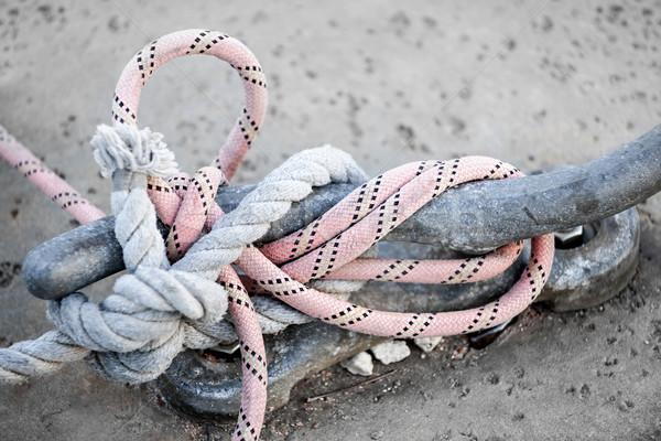 Ropes on cleat Stock photo © elenaphoto
