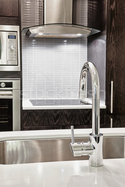 Faucet and sink in modern kitchen Stock photo © elenaphoto