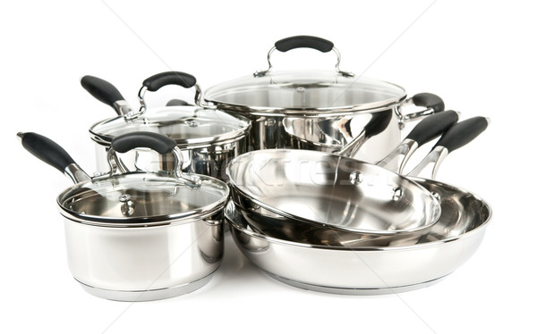 Stainless steel pots and pans Stock photo © elenaphoto