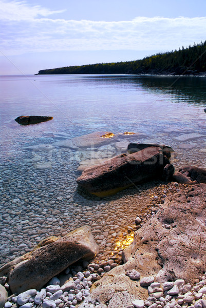 Rocks at shore of Georgian Bay Stock photo © elenaphoto