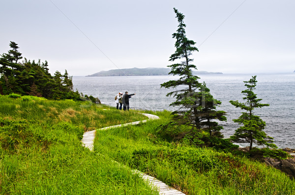 Father and children at Atlantic coast in Newfoundland Stock photo © elenaphoto