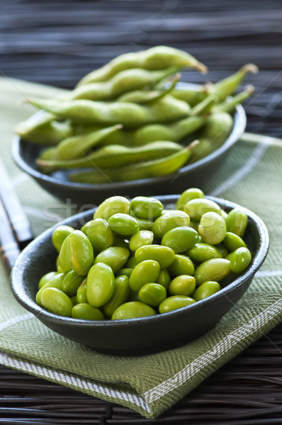 Soy beans in bowls Stock photo © elenaphoto