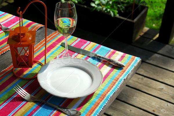 Table setting outside Stock photo © elenaphoto
