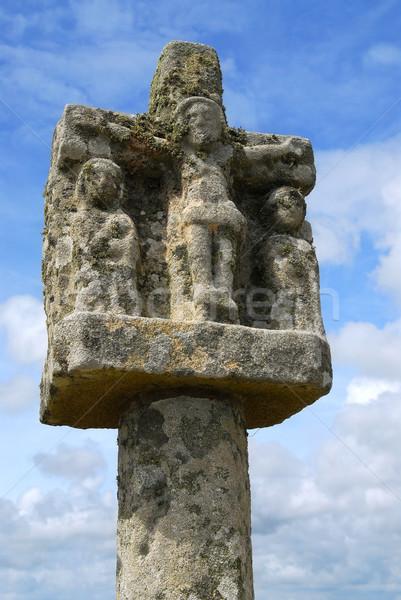 Breton stone cross Stock photo © elenaphoto