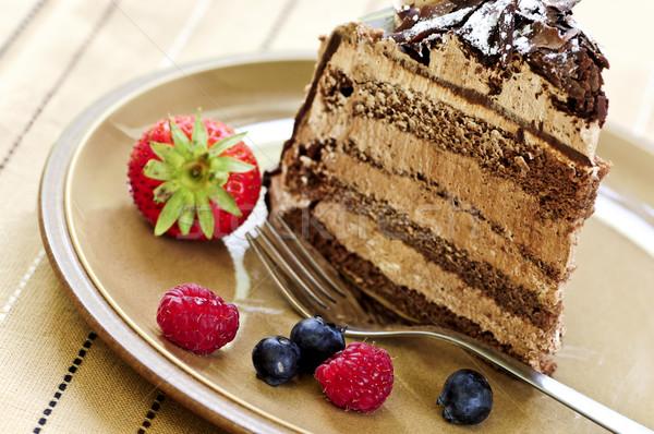 Slice of chocolate cake Stock photo © elenaphoto
