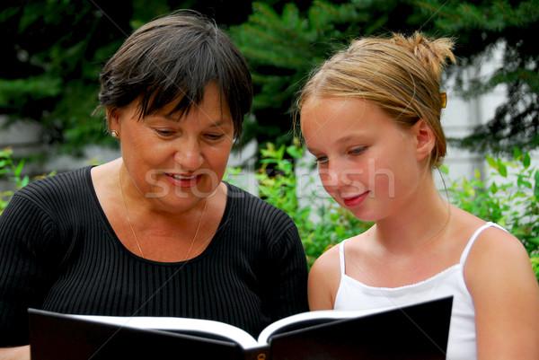 Сток-фото: счастливая · семья · книга · бабушки · внучка · чтение · семьи