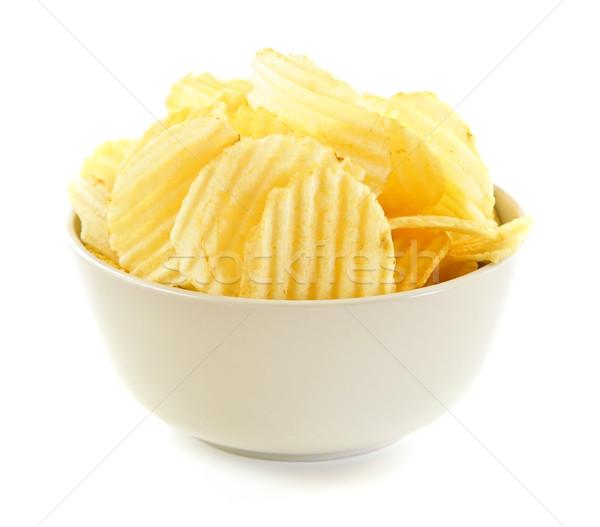 Batatas fritas tigela isolado branco fundo rápido Foto stock © elenaphoto