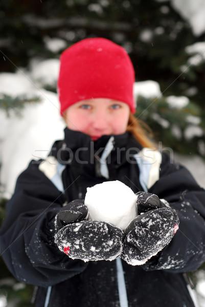 Kız kartopu genç kız eller çocuklar Stok fotoğraf © elenaphoto